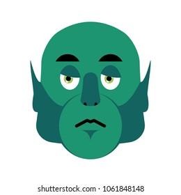 Ogre sad Emoji. Goblin sorrowful emotion isolated. Green monster troll face