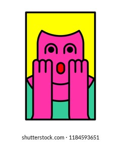 Oh my god woman pop art style. OMG girl in fear. exclamation is shocked. Surprised with news sticker. Religion woman facial expressions, emotions and feelings