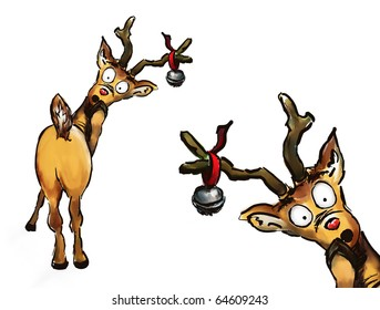 Oh no! Two hand drawn Christmas reindeer on white