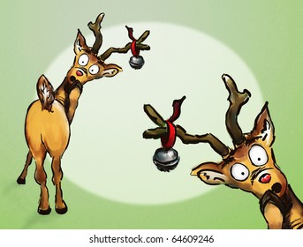 Oh no! Two hand drawn Christmas reindeer spotlight green background