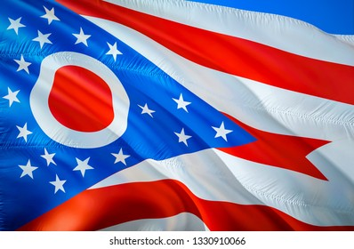 Ohio state flag. 3D Waving American United States flag design. Symbol of Ohio and Columbus, 3D rendering. Ohio Waving state flag concept.Waving US American state flags background