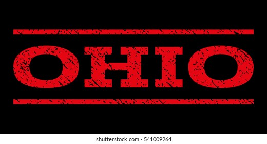 Ohio watermark stamp. Text tag between horizontal parallel lines with grunge design style. Rubber seal stamp with scratched texture. Glyph red color ink imprint on a black background.