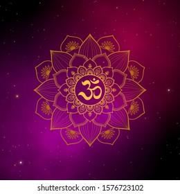 Ohm spiritual sign surrounded by gold mandala on beautiful of the universe illustration design background.