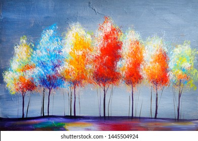 Oil acryl painting landscape, colorful yellow red trees. Hand Painted Impressionist, outdoor landscape.