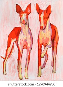 oil and acrylic painting on canvas, bright dogs.