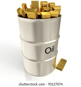 Oil barrel with golden bars 3D rendered isolated on white