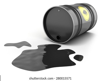 Oil barrel spill puddle isolated