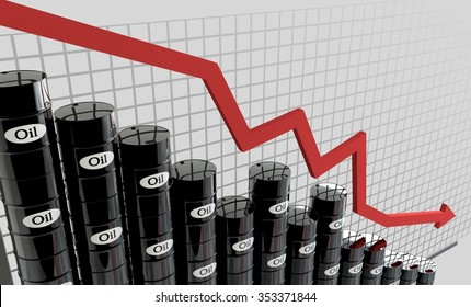 oil barrels and a financial chart on white background.  price oil down.  business concept.