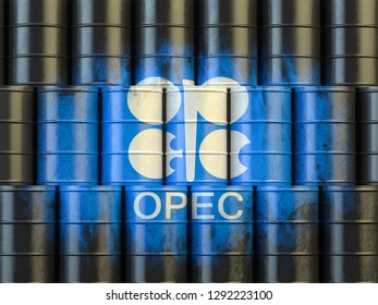 Oil barrels with OPEC siymbol. 3d illustration