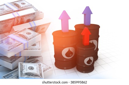 Oil barrels with stack of dollars