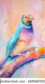 Oil bird portrait painting in multicolored tones. Conceptual abstract painting of a bird. Closeup of a painting by oil and palette knife on canvas.