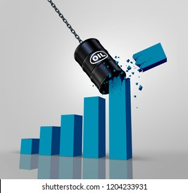 Oil business decline and energy industry price drop or declining crude production as a 3D illustration.