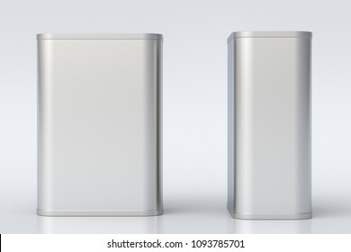 Oil can. Blank metal rectangular tin can isolated with clipping path around can on white background. Front and side view. 3d illustration