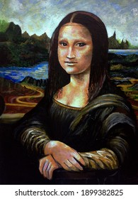 Oil color Paintig Face Cute  female , woman , Mona Lisa , Leonardo da Vinci