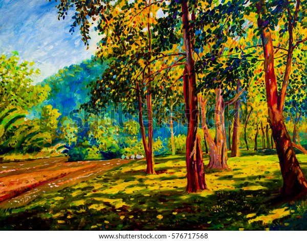 Oil color painting landscape original on canvas colorful of trees garden, river mountain  and emotion in sunlight, sky background.