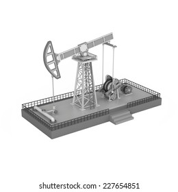 oil derrick tower gas rig on white