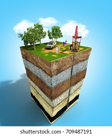 Oil drilling exploration concept Engineer writing on the paper in front of the natural gas pipes Refinery gas and oil Flat 3d illustration For infographics and design