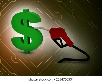 Oil dripping to dollor  sign from a gasoline pump isolated  - 3D Rendering