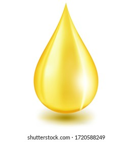 Oil drop or honey isolated on white background as industrial and petroleum concept. 3D illustration.