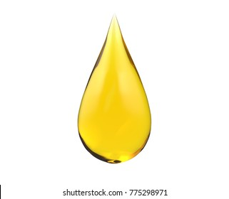 oil drop on white isolated, 3d rendering