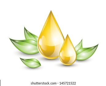 Oil droplets extract with green leaves