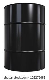 Oil Drum. Classic Black Oil Drum. Isolated on white.