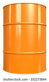 Oil Drum. Classic Oil Drum. Orange, isolated on white.