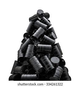 Oil drums peak / 3D render of black oil drums