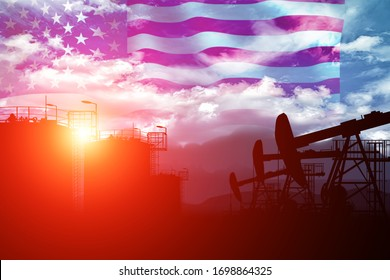 Oil extraction and cloudy sky in sunset with the United States of America flag. US oil production. Abstract image