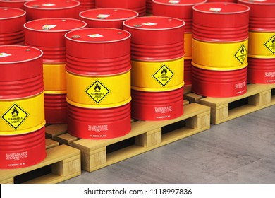 Oil and gas industry manufacturing and trading business concept: 3D render of the group of red metal oil drums or petroleum barrels on wooden shipping pallets in the industrial storage warehouse