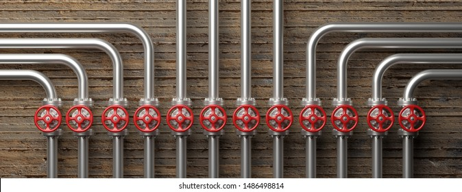 Oil and gas industry. Pipelines and valves system, red wheels and concrete wall background, banner. 3d illustration