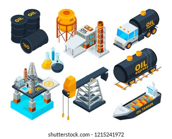 Oil and gas petroleum refining. Isometric pictures set of transportation fuel, gasoline extraction pump, illustration