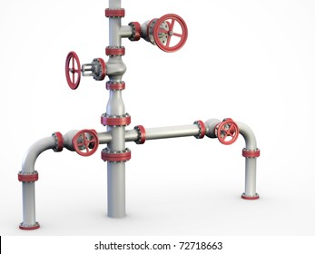 """Oil and gas pipe system also known as a """"Christmas tree"""" Wellhead."""