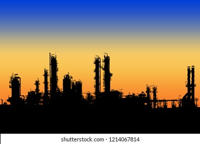 Oil and gas refinery tower in silhouette image on sunset sky background, Petrochemical industrial plant
