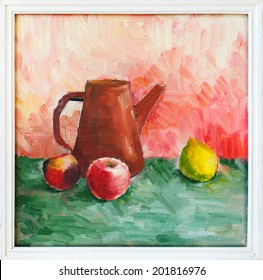 Oil hand painting. Still life with fruits and terracotta jug, illustration in white frame