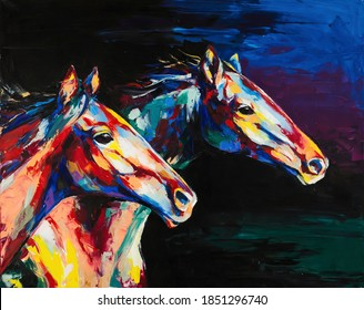 Oil horse portrait painting in multicolored tones. Conceptual abstract painting of a horses.