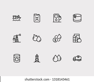 Oil icons set. Oil market and oil icons with canister, oil fossil and tanker ship. Set of renewable for web app logo UI design.