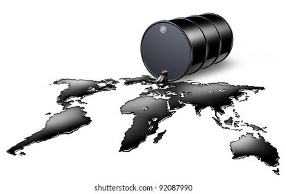 Oil Industry with a black drum barrel pouring and spilling out fossil fuel liquid crude as a map of the world as an energy concept of international commodities trading by the oil cartel.
