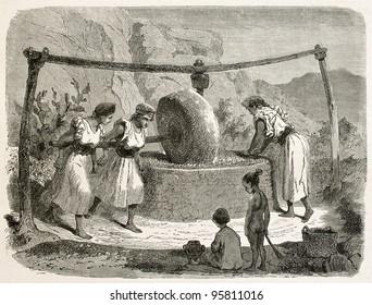 Oil mill in Kabylia old illustration, Algeria. Created by Stop after Duhousset, published on Le Tour Du Monde, Paris, 1867