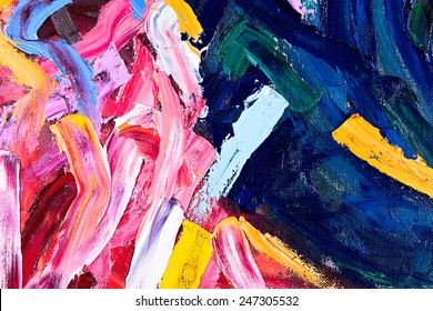 Oil on canvas. fragment of my painting. abstract background. focus on brushstrokes