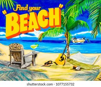 Oil on canvas painting of a tropical island beach scene.