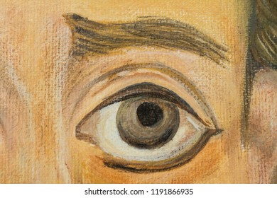 Oil Paining, Eye - Detail of a Portrait of St. Sava, Oil Painting On Canvas, Hand Painted Religious Painting - Orthodox Icon