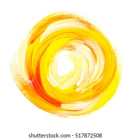 oil paint abstract yellow sun. acrylic brush stroke in circle. handmade paint background in hot colors