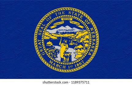 oil paint national flag of Nebraska