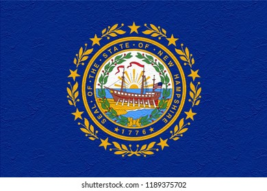 oil paint national flag of New Hampshire