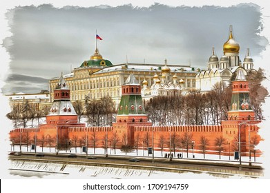 Oil paint on canvas. Picture with photo, imitation of painting. Illustration. Moscow cityscape. View of the Kremlin and the Moskva River