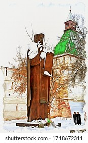 Oil paint on canvas. Picture with photo, imitation of painting. Illustration. Sculpture monk of Saint Sergius of Radonezh founder of monastery