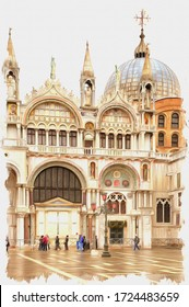 Oil paint on canvas. Picture with photo, imitation of painting. Illustration. Decorative pattern and sculpture on a facade of cathedral of Saint Mark. City Venice