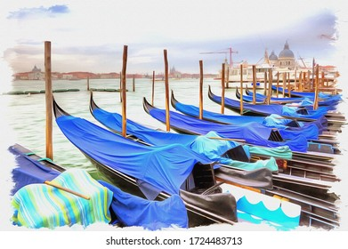 Oil paint on canvas. Picture with photo, imitation of painting. Illustration. Traditional rowing boat, symbol of city Venice