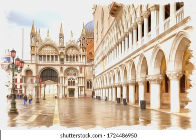Oil paint on canvas. Picture with photo, imitation of painting. Illustration. Fragment of the facade of an ancient palace is in city Venice